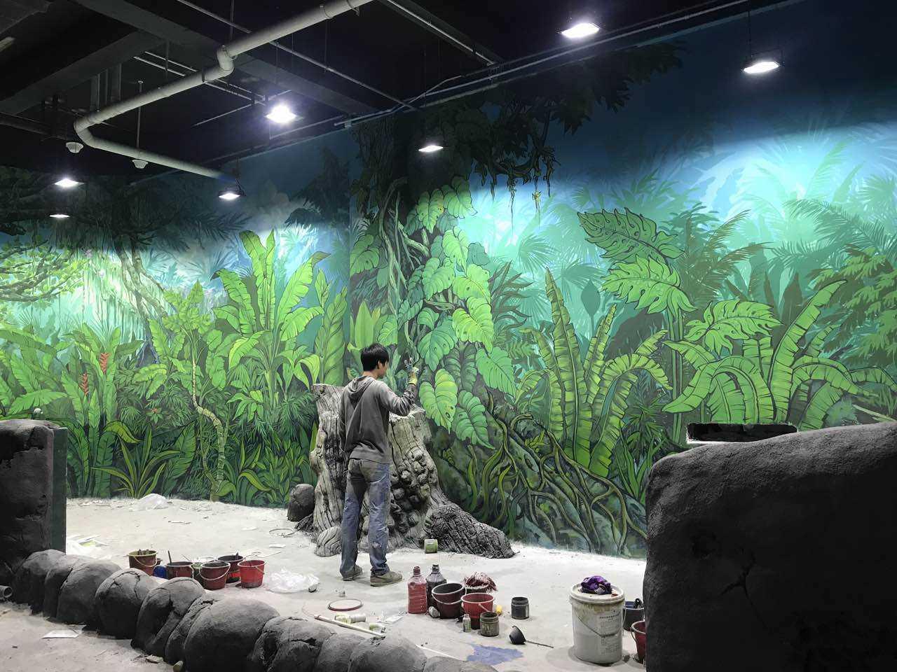 九江立体画手绘,九江背景墙墙体彩绘,九江手绘背景墙